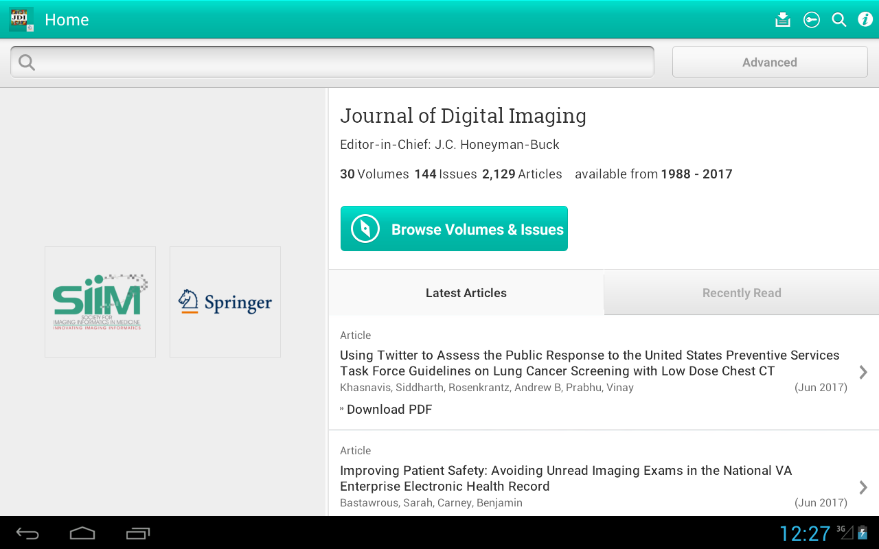 Journal of Digital Imaging- screenshot