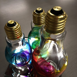 Color in LIght by Mike DeLong - Artistic Objects Glass ( bulbs, gray, blue, light, paint,  )