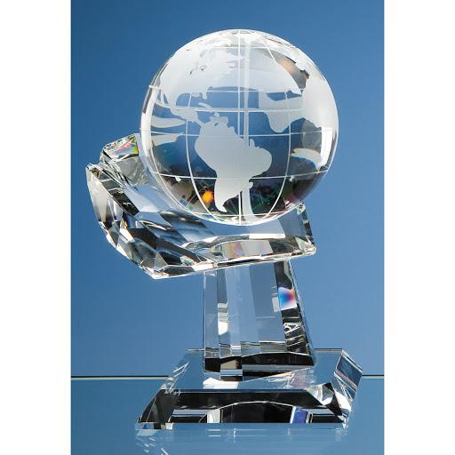 Optical Crystal Globe Award on Clear Base