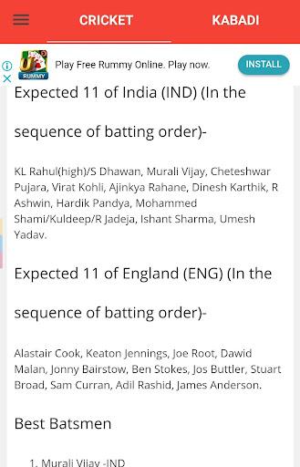 Fantasy 11 cricket Tips - Dream11 Team Predictions 6.6 screenshots 6