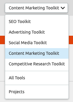 Content Marketing toolkit semrush