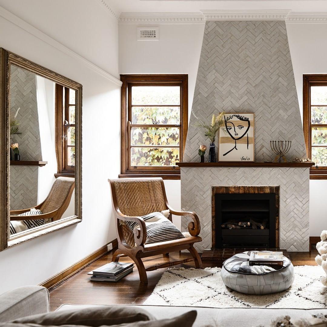 Estilos de decoración de interiores:  salón estilo rústico moderno