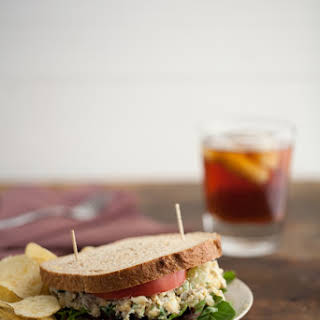 Chickpea Salad Sandwich with Blue Cheese and Grapes.