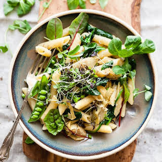 Spring Artichoke Pasta with Spinach, Peas and Lemon.