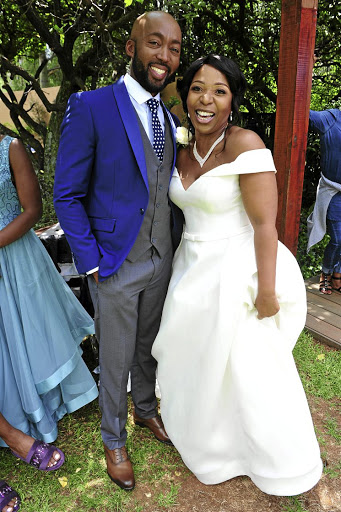 Dingaan Mokebe (James Motsamai) and Vathiswa Ndara (Moliehi Zikalala) at their 'Muvhango' wedding.