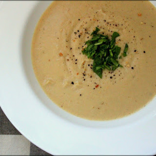 Garlicky Roasted Potato & Cauliflower Soup