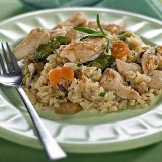 Risotto with chicken, vegetables and Parmesan.