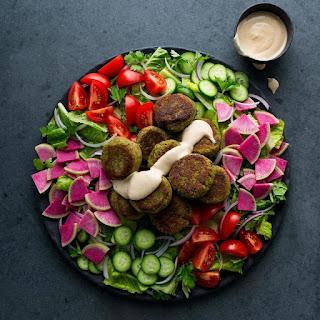Falafel Salad With Lemon-tahini Dressing.