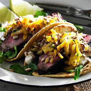 Sirloin Tacos with Beet Salsa.