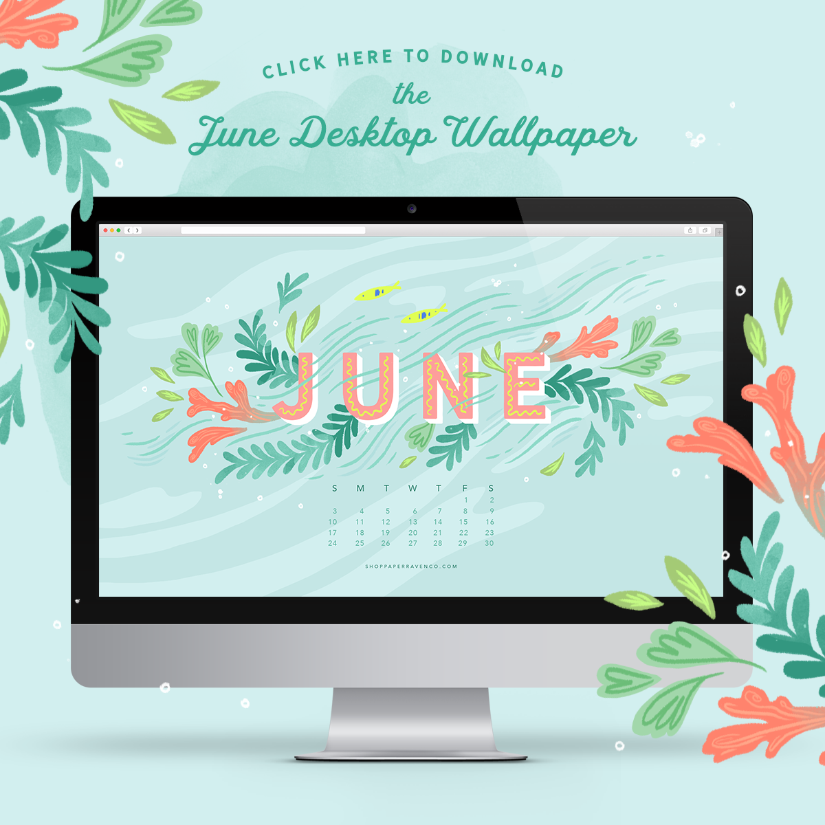 June 2018 Illustrated Desktop Wallpaper