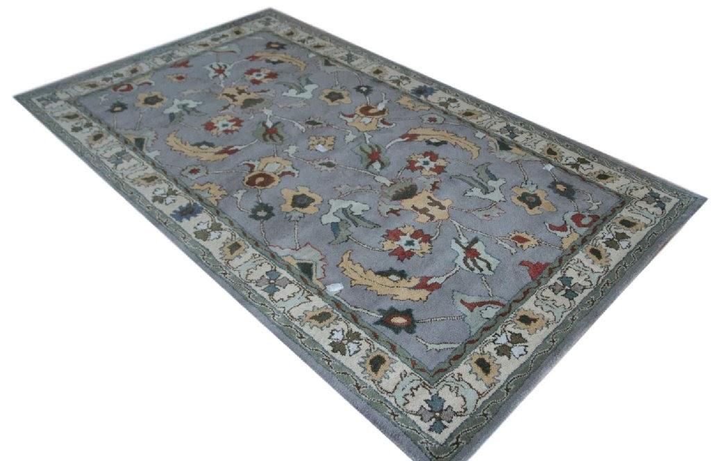 szary z beżem dywan persian ziegler wełniany ręcznie tkany 155x245 tradycyjny kwiatowy