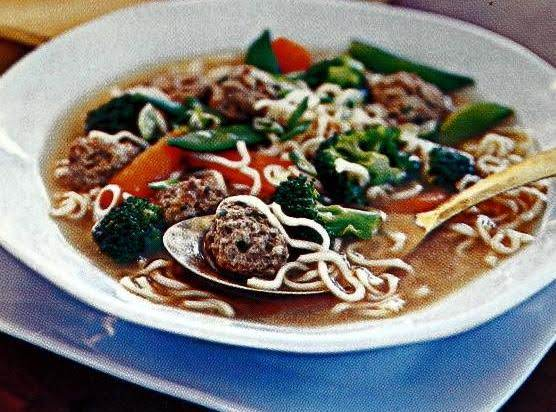 Oriental Meat-ball Soup W/noodles & Veggies Recipe