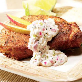 Jamaican Pork With Creamy Lime Salsa.