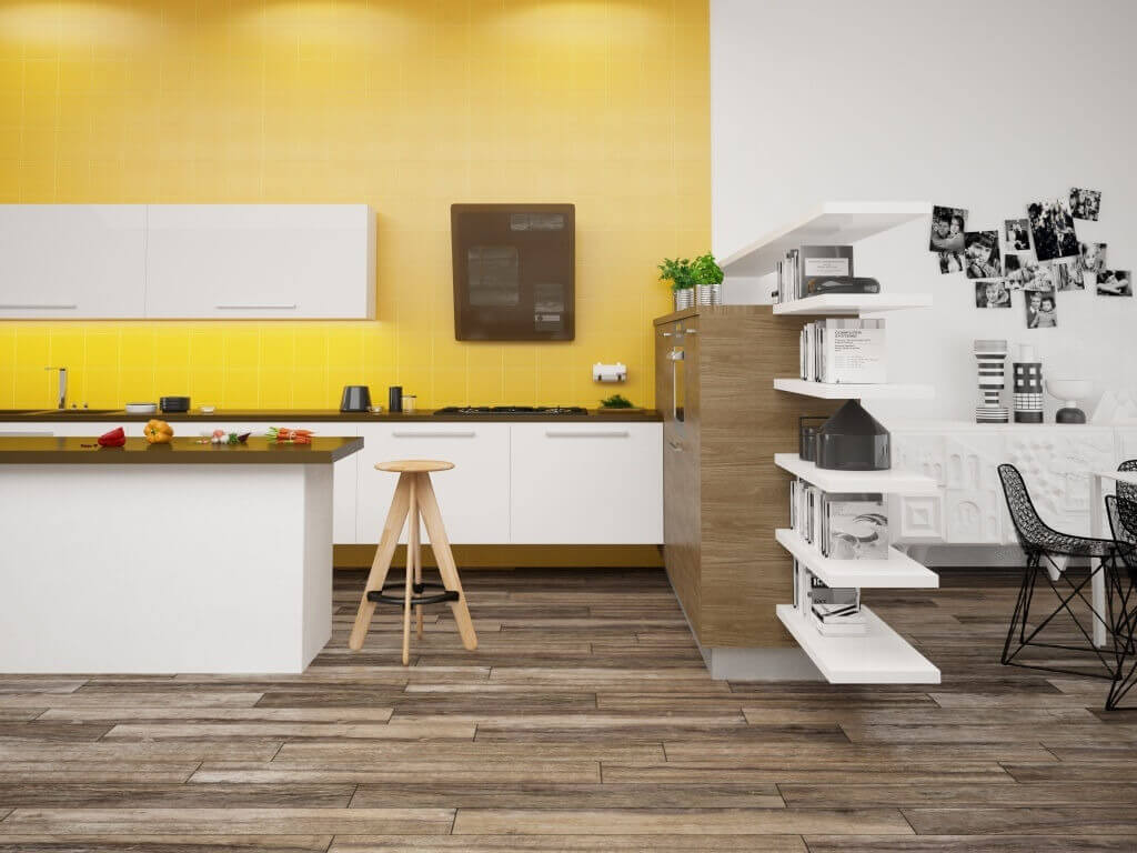 Kitchen with wood-look tile flooring and yellow tile backsplash