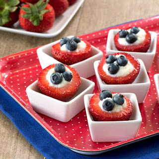 Red, White & Blueberry Stuffed Strawberries