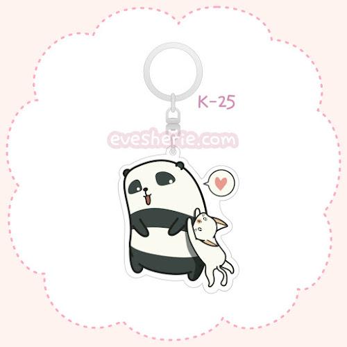 พวงกุญแจอะคริลิค ลายหมีแพนด้าลูกแมว พวงกุญแจหมีแพนด้าลูกแมว