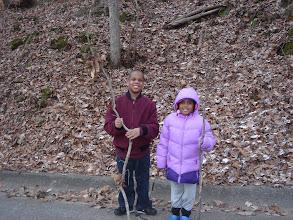Photo: Q and Kaleya w/ their walking sticks