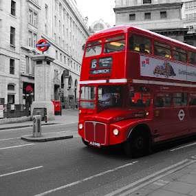 hop on, hop off by Tyler Sleap - City,  Street & Park  Street Scenes ( old, united, aldwych, b&w, bus, white, england, red, kingdom, london, color, isolation, bank, underground, black )