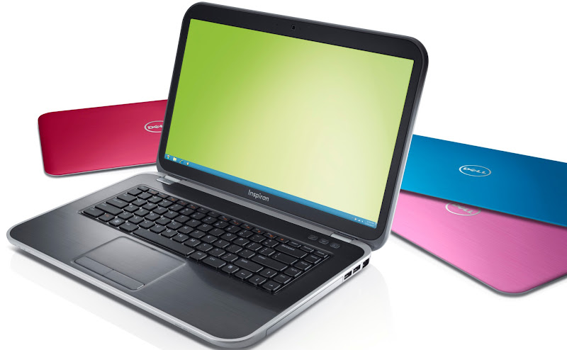 Photo: Dell Inspiron 15R laptop with SWITCH lid in Moon Silver, plus lids in Fire Red, Peacock Blue, and Lotus Pink in background - - http://dell.to/LZBTKk