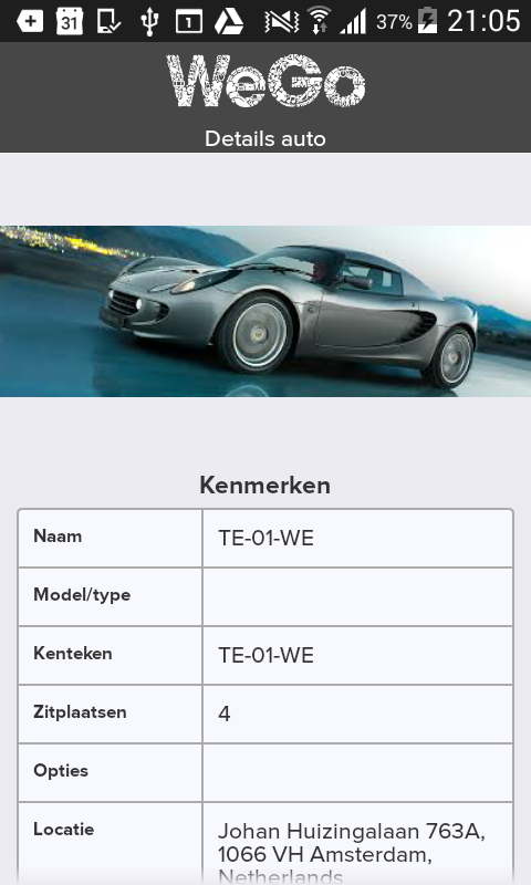 WeGo autodelen: screenshot