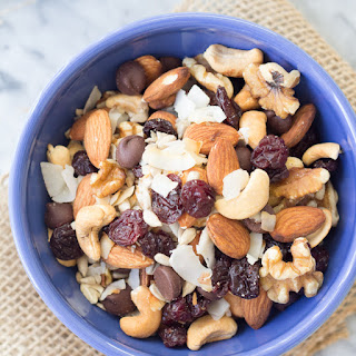 Energy Boosting Trail Mix with Toasted Coconut and Dark Chocolate.