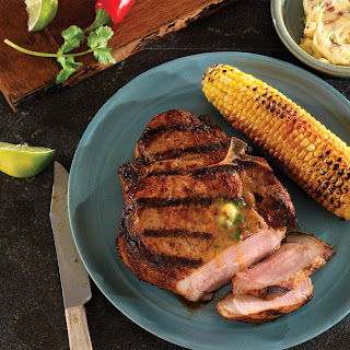 Grilled Porterhouse (Bone-In Loin) Chops with Chipotle Cilantro Butter.