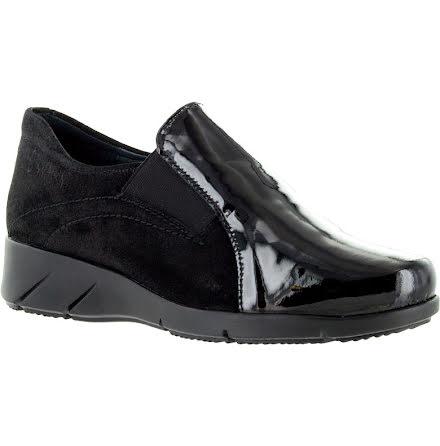 Nancy svart loafer i mocka och lackat skinn