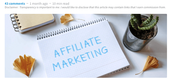 example of how to declare affiliate content in blog posts