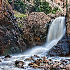 by Todd Yoder - Landscapes Waterscapes ( hdr, waterfall, pine trees, slow speed )