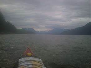 Photo: Paddling north up Lewis Channel in the rain.