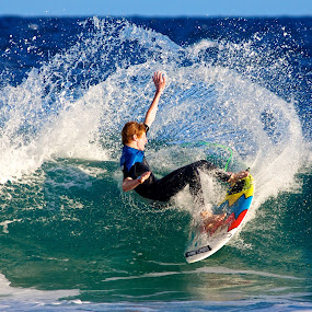 Slicing the wave by Julie Steele - Sports & Fitness Surfing ( spray, steele, surfer, wave )