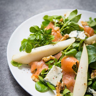 Watercress Salad with Smoked Salmon, Blue Cheese, Pear and Walnuts Recipe
