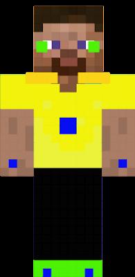 um steve com roupa amarela
