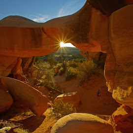 Devil's Garden Mano Arch by Justin Giffin - Landscapes Caves & Formations ( rock formations, arch, utah, sunset, landscape,  )
