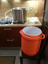 Photo: Getting the mash going with my awesome tiered set up.