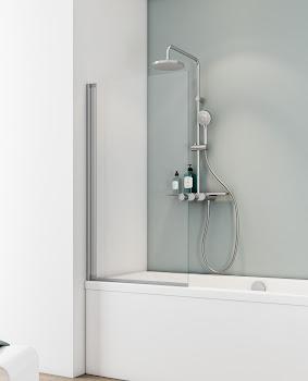 """Badewannenaufsatz 1-tlg. pendelbar, 700x1300 mm, Alu-Natur, Sicherheitsglas (ESG), """"Klar hell"""""""