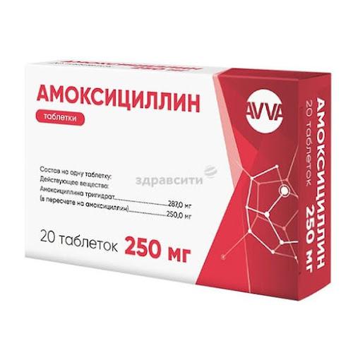 Амоксициллин таблетки 250мг 20 шт.