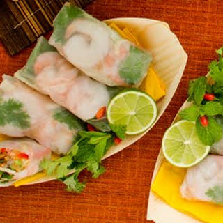 Vietnamese Rice Paper Rolls With Mint, Fish Sauce And Basil.