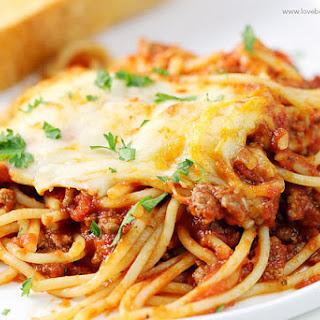 Cheesy Baked Spaghetti.