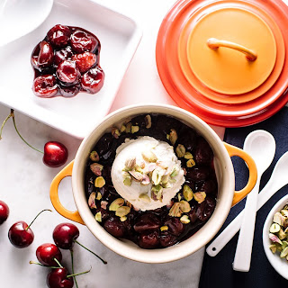 Balsamic Roasted Cherries with Vanilla Ice Cream and Pistachios