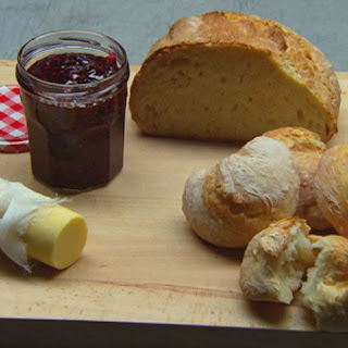 No Prove Bread with Butter and Raspberry Jam.