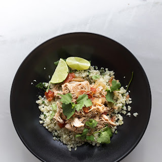 Slow Cooker Mexican Chicken with Cilantro Lime Cauliflower Rice {Paleo + Whole30}.