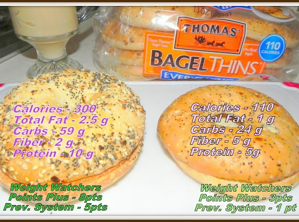 Comparison for 2 Everything bagels with Weight Watcher counts included.