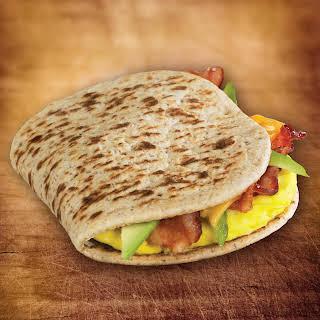 Egg, Avocado and Bacon Foldit® Flatbread Sandwich.