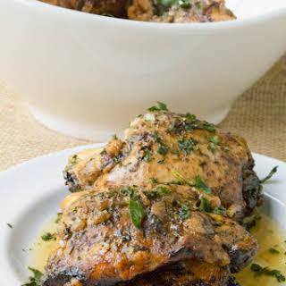 Crock Pot Balsamic Caprese Stuffed Chicken Thighs.