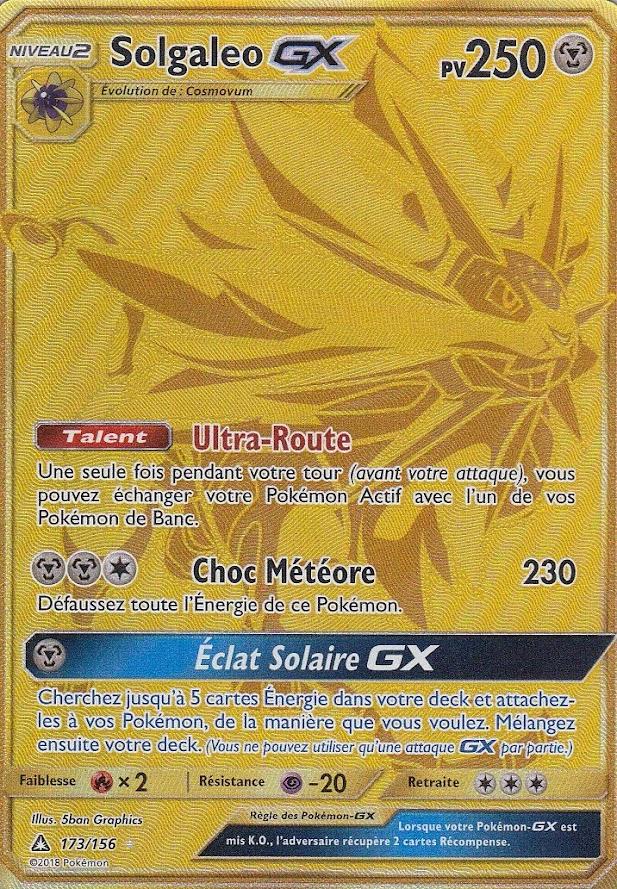 photo de carte pokemon gx Solgaleo GX Full Gold  SL05:Ultra Prisme  173/156  Carte Pokemon