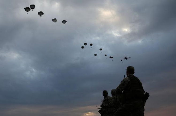 NATO paratroopers take part in the