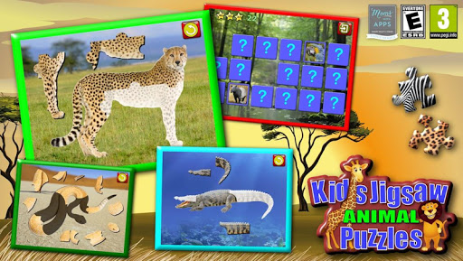 動物のジグソー パズルの子供たち