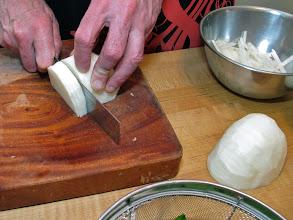 Photo: slicing and julienning the jicama