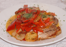 Pork Chops with Vinegar Peppers & Potatoes